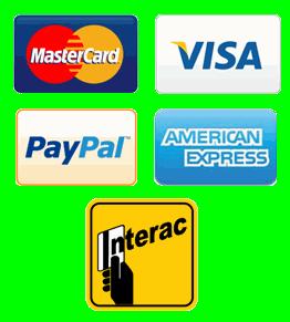MasteCard, Visa, PayPal, AMEX, Interac